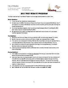 2015 TREE REBATE PROGRAM