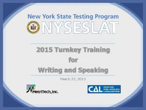 2015 Turnkey Training for Writing and Speaking. March 27, 2015
