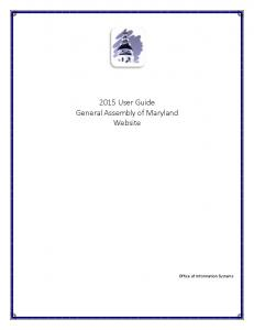 2015 User Guide General Assembly of Maryland Website