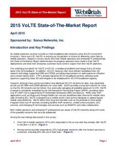 2015 VoLTE State-of-The-Market Report