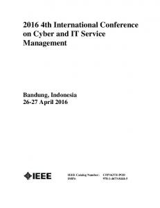 2016 4th International Conference on Cyber and IT Service Management