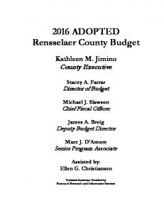 2016 ADOPTED Rensselaer County Budget