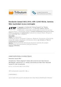 2016. AFIP. CLAVE FISCAL. Servicios Web. Inactividad. Acceso restringido