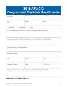 2016 AFL-CIO Congressional Candidate Questionnaire