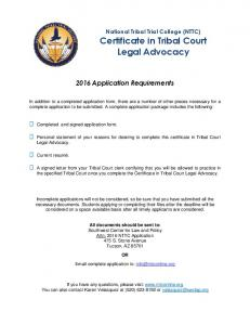 2016 Application Requirements