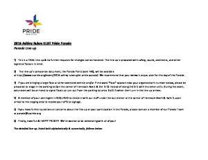 2016 Ashley Rukes GLBT Pride Parade Parade Line-up