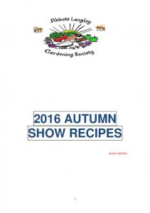 2016 AUTUMN SHOW RECIPES