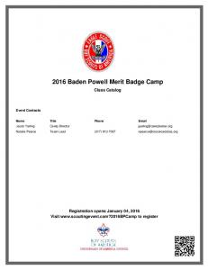 2016 Baden Powell Merit Badge Camp