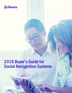 2016 Buyer s Guide for Social Recognition Systems