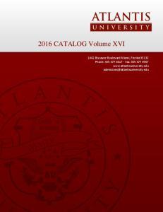 2016 CATALOG Volume XVI