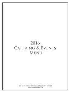 2016 Catering & Events Menu