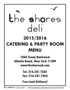 2016 CATERING & PARTY ROOM MENU