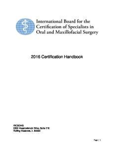 2016 Certification Handbook