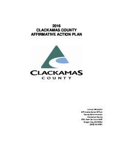 2016 CLACKAMAS COUNTY AFFIRMATIVE ACTION PLAN
