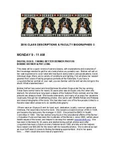 2016 CLASS DESCRIPTIONS & FACULTY BIOGRAPHIES