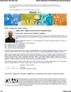 2016 Corporate Games News