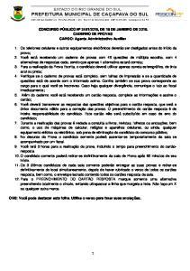 2016, DE 18 DE JANEIRO DE CADERNO DE PROVAS CARGO: Agente Administrativo Auxiliar