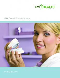 2016 Dental Provider Manual