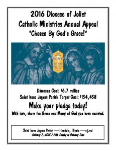 2016 Diocese of Joliet Catholic Ministries Annual Appeal Chosen By God s Grace!