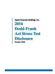 2016 Dodd-Frank Act Stress Test Disclosure