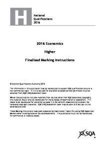 2016 Economics. Higher. Finalised Marking Instructions