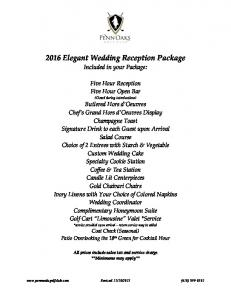 2016 Elegant Wedding Reception Package