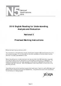 2016 English Reading for Understanding, Analysis and Evaluation. National 5. Finalised Marking Instructions