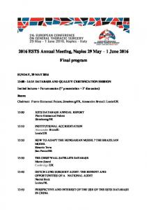 2016 ESTS Annual Meeting, Naples 29 May 1 June 2016 Final program