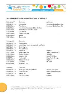 2016 EXHIBITOR DEMONSTRATION SCHEDULE