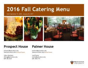 2016 Fall Catering Menu