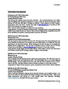 2016 Field Trip Schedule
