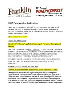 2016 Food Vendor Application