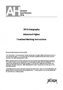 2016 Geography. Advanced Higher. Finalised Marking Instructions