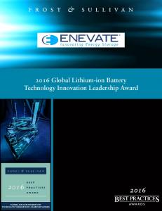 2016 Global Lithium-ion Battery Technology Innovation Leadership Award