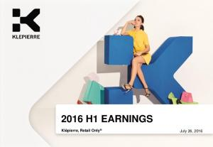2016 H1 EARNINGS. Klépierre, Retail Only July 26, 2016