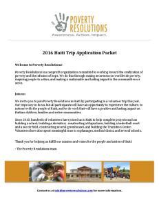 2016 Haiti Trip Application Packet