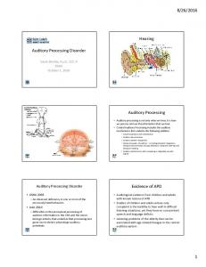 2016. Hearing. Auditory Processing Disorder. Auditory Processing. Evidence of APD. Auditory Processing Disorder