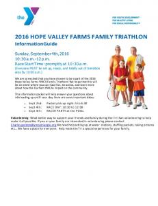 2016 HOPE VALLEY FARMS FAMILY TRIATHLON Information Guide