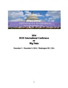 2016 IEEE International Conference on Big Data. December 5 - December 8, 2016 Washington DC, USA