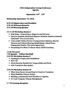 2016 Independent Living Conference Agenda. September 14 th 15 th