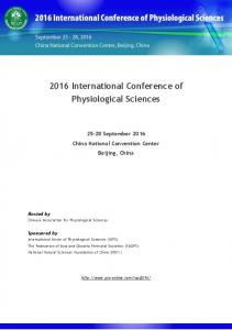 2016 International Conference of Physiological Sciences