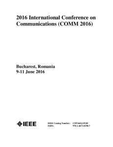 2016 International Conference on Communications (COMM 2016)