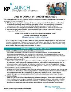 2016 KP LAUNCH INTERNSHIP PROGRAMS
