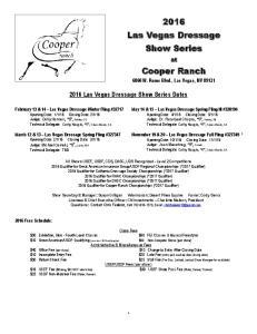 2016 Las Vegas Dressage Show Series Dates