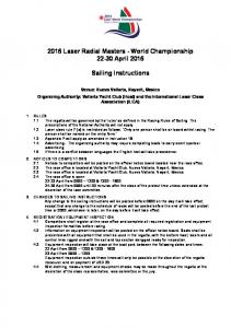 2016 Laser Radial Masters - World Championship April Sailing Instructions