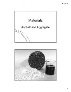 2016. Materials. Asphalt and Aggregate