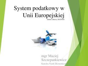 2016. mgr Maciej Szczepankiewicz Katedra Nauk Ekonomicznych