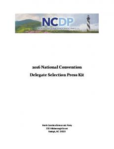 2016 National Convention Delegate Selection Press Kit