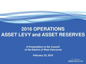 2016 OPERATIONS ASSET LEVY and ASSET RESERVES