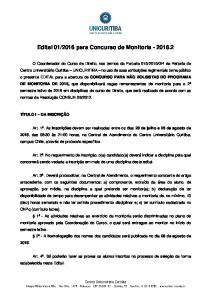 2016 para Concurso de Monitoria